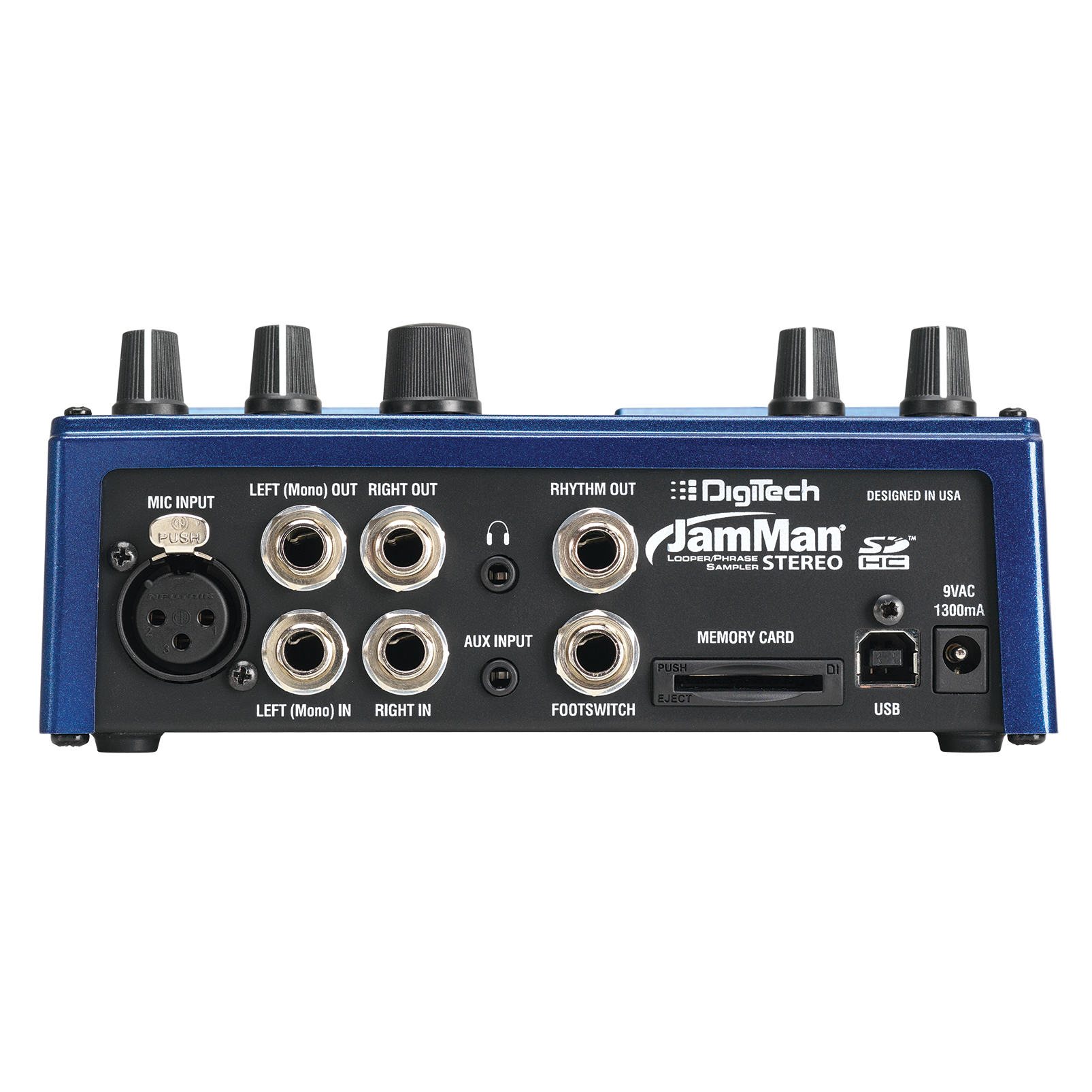 JamMan Stereo - Blue - Stereo Looping Pedal with 35 Minutes of Internal Recording Capacity, SDHC Card Expansion, and Included JamManager Loop Librarian Software - Back