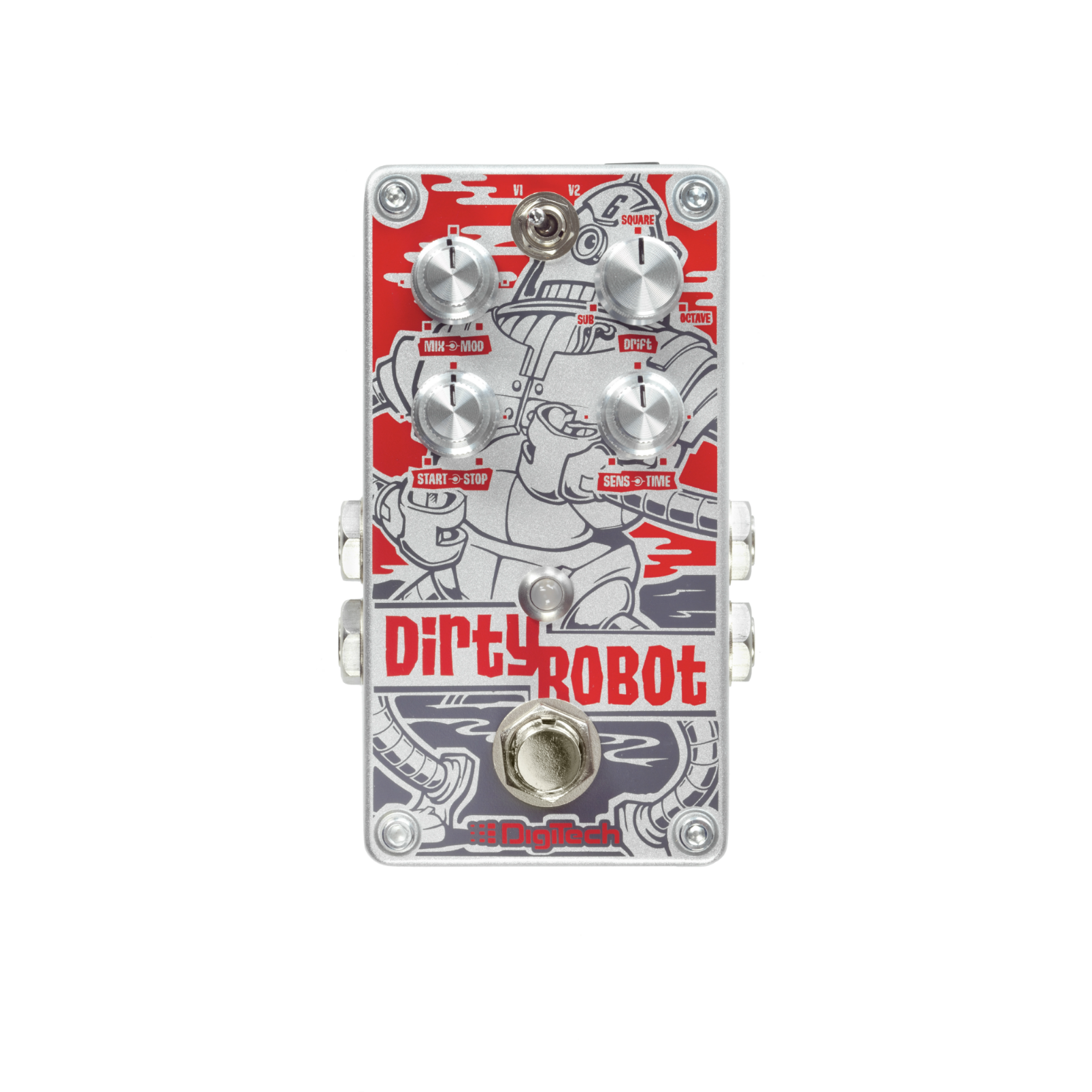 Dirty Robot - Red - Stereo Mini-Synth Pedal - Front